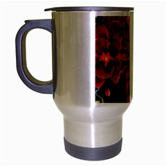 Red Orchids Travel Mug (silver Gray) by timelessartoncanvas