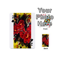 Red Orchids Playing Cards 54 (mini)  by timelessartoncanvas