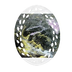Black Ice Oval Filigree Ornament (2 Side)  by timelessartoncanvas