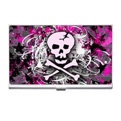 Pink Skull Splatter Business Card Holders by ArtistRoseanneJones