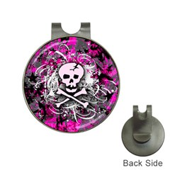 Pink Skull Splatter Hat Clips With Golf Markers by ArtistRoseanneJones