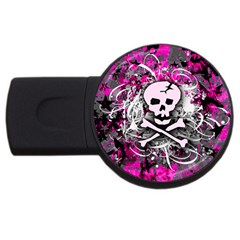 Pink Skull Splatter Usb Flash Drive Round (4 Gb)  by ArtistRoseanneJones
