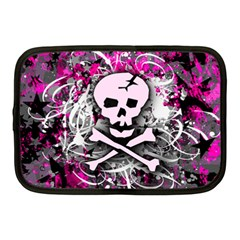 Pink Skull Splatter Netbook Case (medium)  by ArtistRoseanneJones