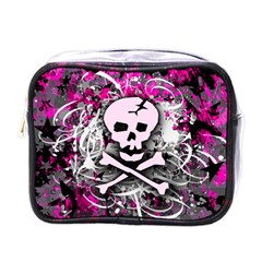 Pink Skull Splatter Mini Toiletries Bags by ArtistRoseanneJones