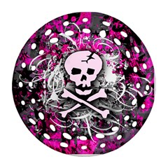 Pink Skull Splatter Round Filigree Ornament (2side) by ArtistRoseanneJones