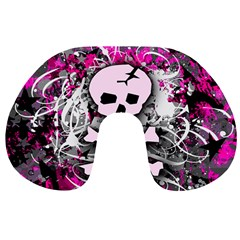 Pink Skull Splatter Travel Neck Pillows by ArtistRoseanneJones