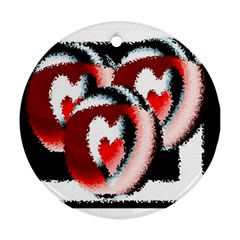Heart Time 3 Round Ornament (two Sides)  by InsanityExpressed