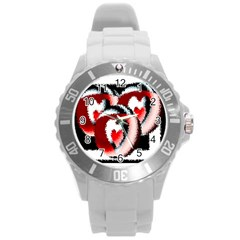 Heart Time 3 Round Plastic Sport Watch (l) by InsanityExpressed