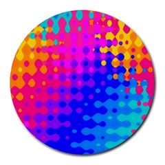 Totally Trippy Hippy Rainbow Round Mousepads by KirstenStar