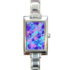 Blue And Purple Marble Waves Rectangle Italian Charm Watches by KirstenStar