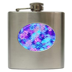Blue And Purple Marble Waves Hip Flask (6 Oz) by KirstenStar