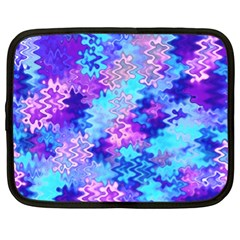 Blue And Purple Marble Waves Netbook Case (xl)  by KirstenStar