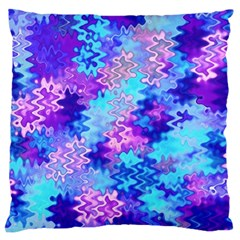 Blue And Purple Marble Waves Large Cushion Cases (one Side)  by KirstenStar