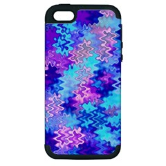 Blue And Purple Marble Waves Apple Iphone 5 Hardshell Case (pc+silicone) by KirstenStar