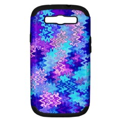 Blue And Purple Marble Waves Samsung Galaxy S Iii Hardshell Case (pc+silicone) by KirstenStar