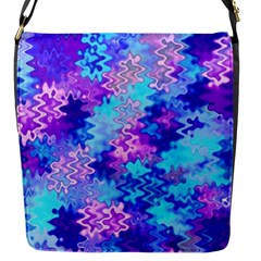 Blue And Purple Marble Waves Flap Messenger Bag (s) by KirstenStar