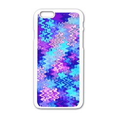 Blue And Purple Marble Waves Apple Iphone 6 White Enamel Case by KirstenStar