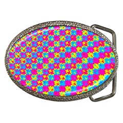 Crazy Yellow And Pink Pattern Belt Buckles by KirstenStar