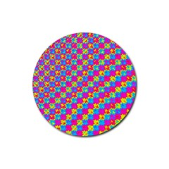 Crazy Yellow And Pink Pattern Rubber Round Coaster (4 Pack)  by KirstenStar