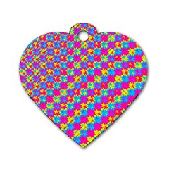 Crazy Yellow And Pink Pattern Dog Tag Heart (two Sides) by KirstenStar