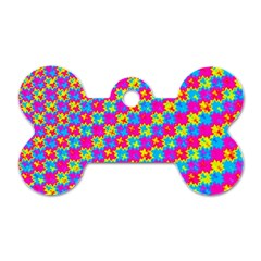Crazy Yellow And Pink Pattern Dog Tag Bone (two Sides) by KirstenStar