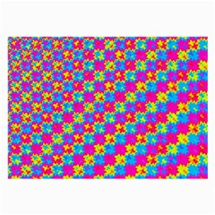 Crazy Yellow And Pink Pattern Large Glasses Cloth (2-side) by KirstenStar