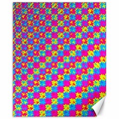 Crazy Yellow And Pink Pattern Canvas 11  X 14   by KirstenStar