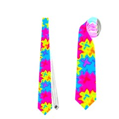 Crazy Yellow And Pink Pattern Neckties (one Side)  by KirstenStar