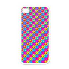 Crazy Yellow And Pink Pattern Apple Iphone 4 Case (white) by KirstenStar