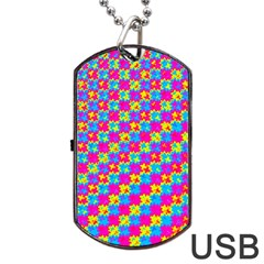 Crazy Yellow And Pink Pattern Dog Tag Usb Flash (two Sides)  by KirstenStar