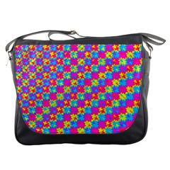 Crazy Yellow And Pink Pattern Messenger Bags by KirstenStar
