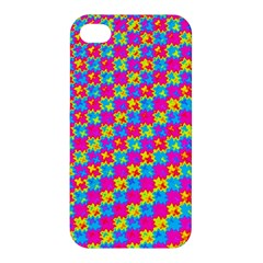 Crazy Yellow And Pink Pattern Apple Iphone 4/4s Premium Hardshell Case by KirstenStar