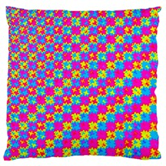 Crazy Yellow And Pink Pattern Large Cushion Cases (one Side)  by KirstenStar