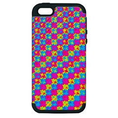Crazy Yellow And Pink Pattern Apple Iphone 5 Hardshell Case (pc+silicone) by KirstenStar