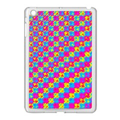 Crazy Yellow And Pink Pattern Apple Ipad Mini Case (white) by KirstenStar