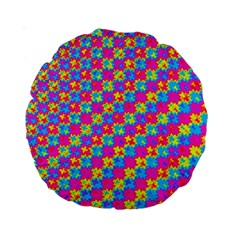 Crazy Yellow And Pink Pattern Standard 15  Premium Round Cushions by KirstenStar