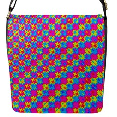 Crazy Yellow And Pink Pattern Flap Messenger Bag (s) by KirstenStar
