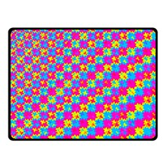 Crazy Yellow And Pink Pattern Double Sided Fleece Blanket (small)  by KirstenStar