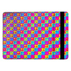 Crazy Yellow And Pink Pattern Samsung Galaxy Tab Pro 12 2  Flip Case by KirstenStar