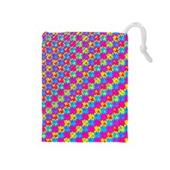 Crazy Yellow And Pink Pattern Drawstring Pouches (medium)  by KirstenStar