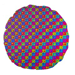 Crazy Yellow And Pink Pattern Large 18  Premium Flano Round Cushions by KirstenStar