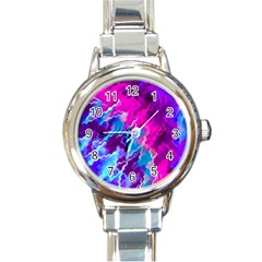Stormy Pink Purple Teal Artwork Round Italian Charm Watches by KirstenStar