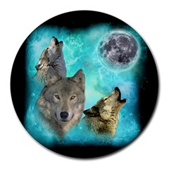 Wolves Shiney Grim Moon 3000 Round Mousepads by ratherkool