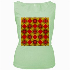 Cute Pretty Elegant Pattern Women s Green Tank Tops
