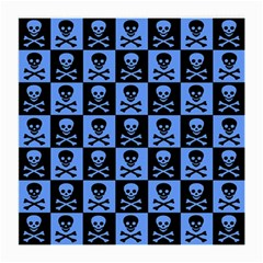 Blue Skull Checkerboard Medium Glasses Cloth by ArtistRoseanneJones