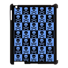 Blue Skull Checkerboard Apple Ipad 3/4 Case (black)