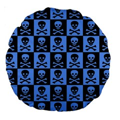 Blue Skull Checkerboard Large 18  Premium Round Cushions