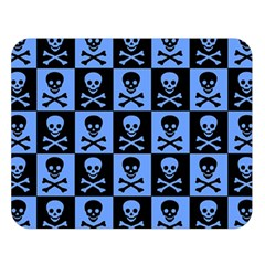 Blue Skull Checkerboard Double Sided Flano Blanket (large)