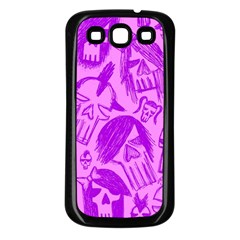 Purple Skull Sketches Samsung Galaxy S3 Back Case (black) by ArtistRoseanneJones