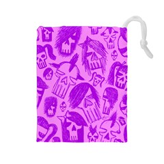 Purple Skull Sketches Drawstring Pouches (large)  by ArtistRoseanneJones